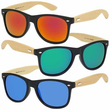 BAMBOO SUNGLASSES Wooden Mens Womens Retro Vintage Wood Mirror Summer Glasses