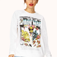 FOREVER 21 Ironman Sweatshirt White/Black