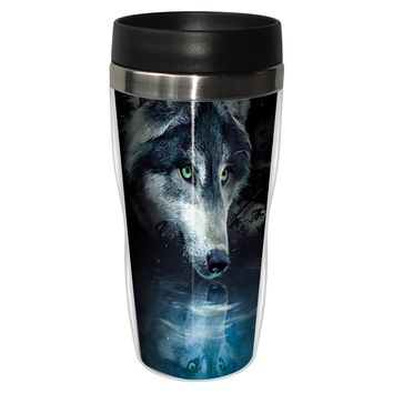 Wolf Reflection Artful Travel Mug - Premium 16 oz Stainless Lined w/ No Spill Lid