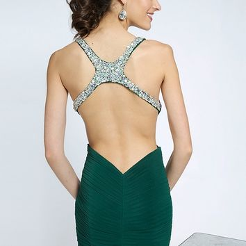 Jovani JVN98429 Ruched V-Neck Crystal Beaded Back Straps Bejeweled Bustline Cutout Sides