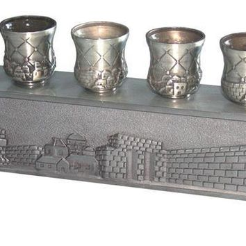 Pewter Menorah With Candlesticks .