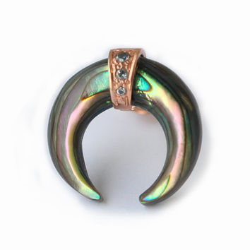 Single Earring, Abalone Shell Earring, Abalone Horn Earring, Crescent Earring, Crescent Stud, Moon earring, Pace Diamond Earring