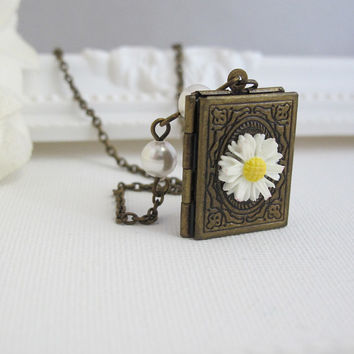 Romantic Floral Book Locket Necklace. Vintage Victorian Style Photo Locket. Swarovski White Pearls Daisy White Flower Necklace Jewelry