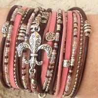 Boho Wrap Bracelet- Pink Brown and Silver Triple Wrap Infinity Multilayer Leather Cuff with Silver  Fleur De Lis Charm and Tibetan Beads