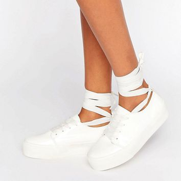 ASOS DENVER Tie Leg Trainers at asos.com
