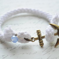 IN STOCK-Summer Bracelet No.50-- Anchor bracelet- White cord and bronze anchor clasp