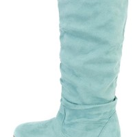 Mint Slouchy Mid Calf Casual Boots Faux Suede