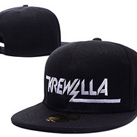 HAIHONG Krewella Band Logo Adjustable Snapback Caps Embroidery Hats - Black