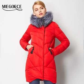 Woman Parka Winter Women Jacket Coat With Real Silver Fox Fur Warm Women Coat  MIEGOFCE  Winter Collection