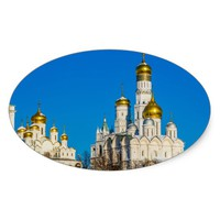 Moscow Kremlin cathedrals Oval Sticker