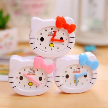 2Pcs/set Kawaii Hello Kitty Clock diplopore Pencil Sharpener for Kids Children School Supplies Korean Stationery Free shipping