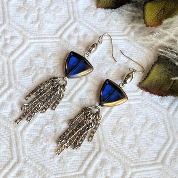 Artisan Crafted Gold Plated Blue Glass Chandelier Tassel Earrings