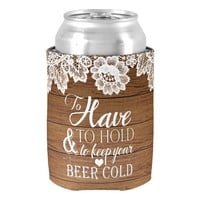 White Lace Rustic Barn Wood Monogram Wedding Can Cooler