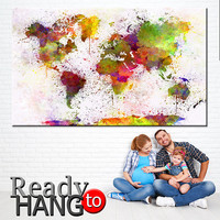 Large Canvas map, World Map Canvas, World Map Wall Art, Wall art world map, Painting print, Coloring canvas, Paintings prints, World map art