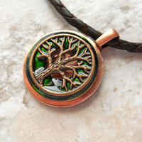 tree of life necklace: green - jewelry for men - men necklace - celtic jewelry - tree necklace - unique gift - leather cord - copper jewelry