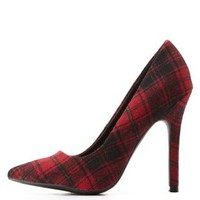 Red Combo Plaid Single Sole Pointed Toe Pumps by Charlotte Russe