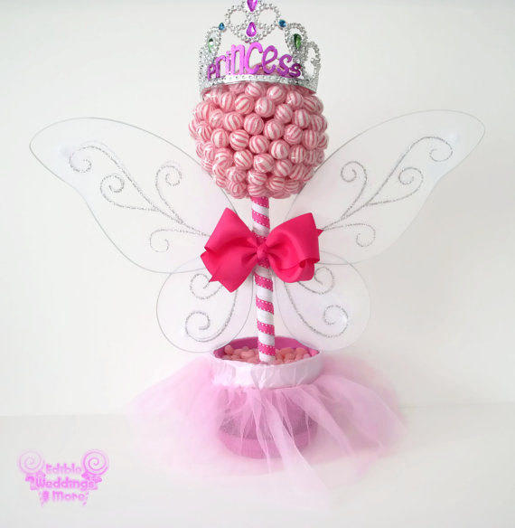 Pink lollipop fairy princess topiary from edible weddings