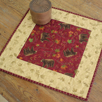 Fall Candle Mat, Quilted Table Topper, Bears Table Topper, Autumn Leaves, Red Table Topper, Off White Candle Mat, Country Cabin Decor