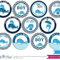 Girl Whale Cupcake Toppers for Baby Shower Printable DIY, favor tags, circles, It's a Girl, Chevron - ONLY digital file - oz8bs0