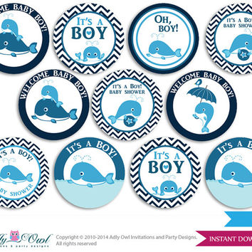 girl whale cupcake toppers for baby shower printable diy favor tags circles its
