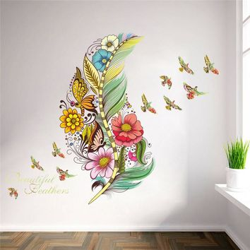 3d Vivid Feather Birds Flower  Wall Decals Stickers