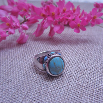 vintage ring, sterling silver, chunky ring, turquoise ring, bohemian ring, gypsy ring, statement ring, cocktail ring, teal blue, indie ring