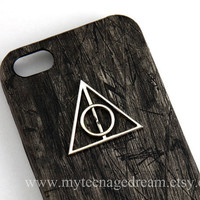 Deathly Hallows, Iphone 5 Case, PU Leather black wood Hard Case, harry potter Case for Iphone 5