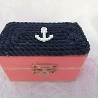 Coral and Navy Beachy Coastal Nautical Rustic Wedding Ring BOx Gift