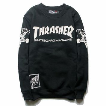MDIGHQ9 Black Thrasher Magazine Flame Round Neck Sweatershirt Pullover
