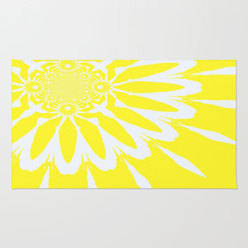 Yellow and White Modern Flower Area & Throw Rug by 2sweet4words Designs