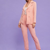 Pink Pastel Double Button Blazer With Skinny Pants