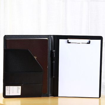 PU leather Multifunction Business Notebook Ring Binder A4 File Folder Clipboard Memo/Bill Case Office Supply