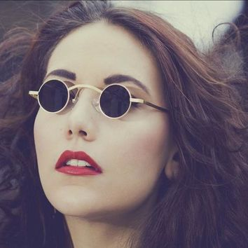 Retro Gothic Steampunk Sunglasses Women Vintage Round Sun Glasses Men Mirror Metal Frame Classic Prince Clout Goggles Couple Red