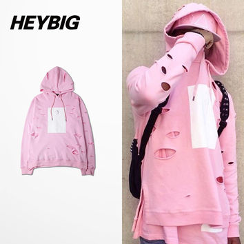 Sakura Pink Hood with Holes cotton candy series hip hop Sweatshirts Drawstring skateboard Pullover Side split Men HEYBIG AW tops