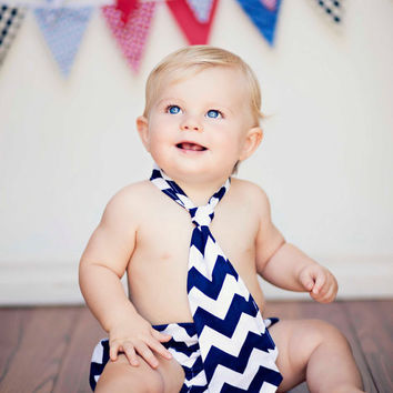 Baby Boy Toddler First Birthday Diaper Cover and Tie Outfit in Riley Blake Chevron NB - 24M Navy Blue Photo Prop