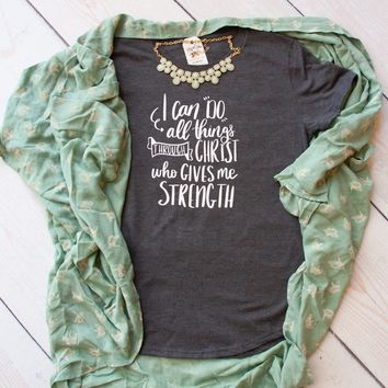 I Can Do All Things through Christ Philippians 4:13 Triblend Short Sleeve Shirt
