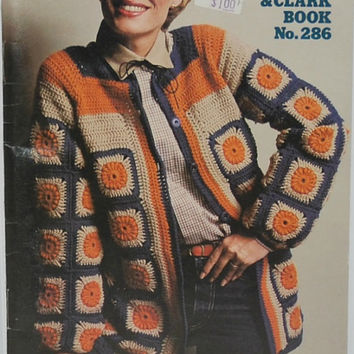 More Granny Squares, Coats & Clark Book No. 286 (c.1980) Red Heart Yarn, Vintage Hip Boho Jackets, Children's Sweaters, Granny Square Afghan