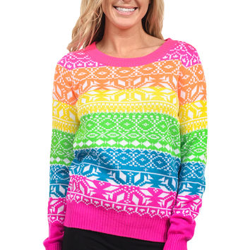 Women's Rainbow Dayglow Ski Sweater