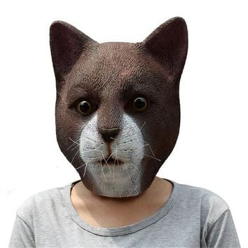 Full Face Cosplay Masquerade Fancy Dress Party Masks Lovely Brown Cat Head Mask Halloween Latex Animal Party Mask