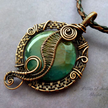 Aqua Agate Wire Wrapped pendant necklace, wire wrapped jewelry handmade, copper jewelry, wire jewelry, woven wire, blue green turquoise