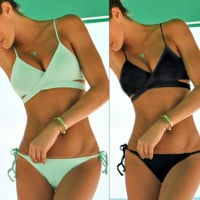 Retro Bandage Criss Cross Push Up Bikini