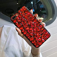 """iPhone 6 Case, Aifeer Luxury Handmade Crystal Rhinestone Soft Rubber Bumper Bling Red Full Diamond Glitter Case Cover for iPhone 6/6S 4.7"""""""