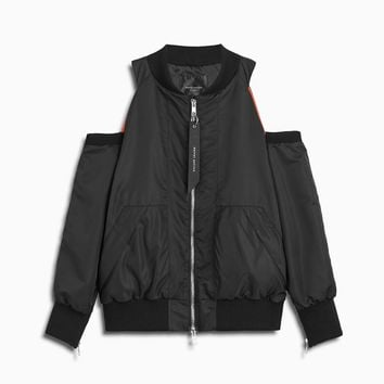cold shoulder bomber / black