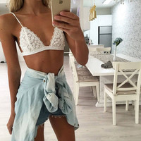 2016 New Floral Sheer Lace Triangle Bralette Bra Bustier Crop Top Unpadded Mesh Lined Fashion Clothing