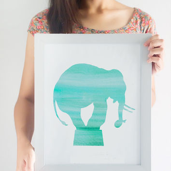 Watercolor Circus Elephant Print // Choose From 5 Colors // Home Decor // Watercolor Print