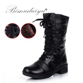 BIMUDUIYU Brand Womens Genuine Leather Winter Boots Round Toe Zipper Snow Boots Fashion Mid-Calf Boots Winter Fur Martin Boots
