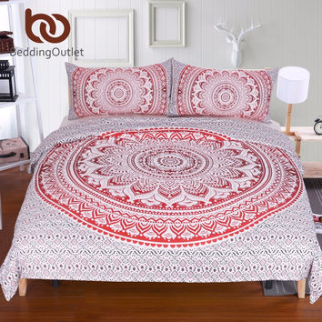 BeddingOutlet Red Mandala Flower Duvet Cover Set With Pillowcase Bohemia Bedding Set Boho Soft Microfiber Quilt Cover Set 3Pcs