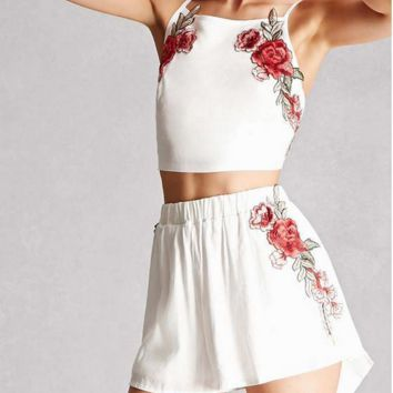 Fashion embroidered white two-piece outfit