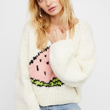 Free People Watermelon Crop Pullover