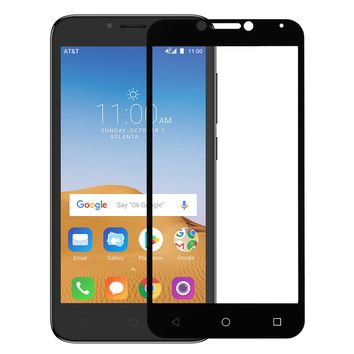 Alcatel Tetra, Premium Full Screen HD Tempered Glass Ultra Thin Scratch Free Screen Protector - Black